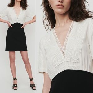 MAJE Dress White Embroidered Lace Short Sleeve